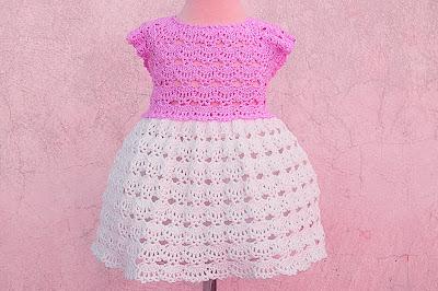 3 - Crochet Imagen Falda a crochet y ganchillo canesú rosa por Majovel Crochet