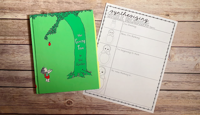 "Mentor Text with text ""The Giving Tree"" and Graphic Organizer with text ""Synthesizing While Reading"""