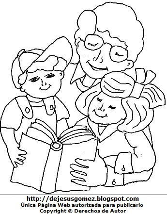 Dibujo de niños leyendo un libro con su papá para colorear, pintar e imprimir (Niños felices junto a su padre). Dibujo de niños leyendo un libro de Jesus Gómez