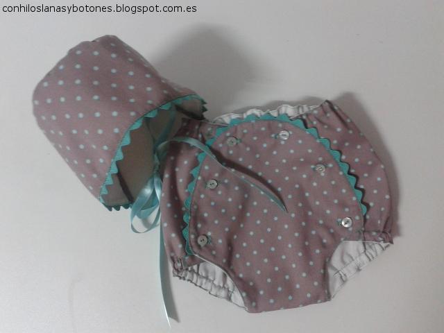 conhiloslanasybotones.blogspot.com.es - capota y ranita bebé topitos agumarina