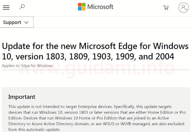 Pagina di supporto update KB4559309 del sito di Microsoft