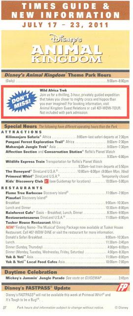 Times Guide Disney's Animal Kingdom July 17-23 2011