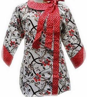 model baju batik kantor lengan panjang modis