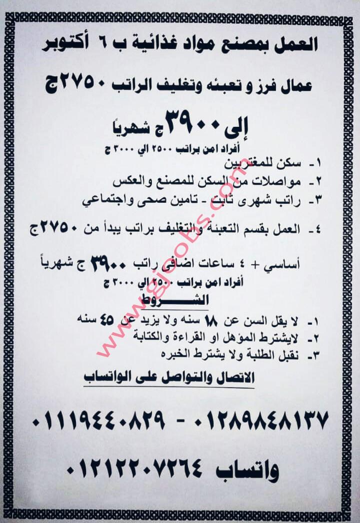 مطلوب للعمل بمصنع مواد غذائية مدينة 6 أكتوبر مصر