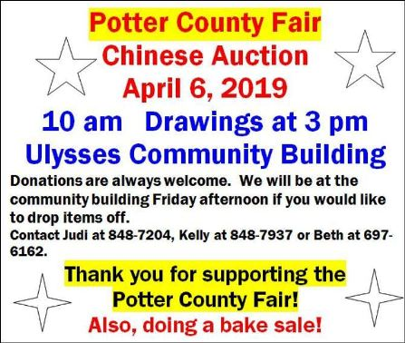 4-6 Potter County Fair Chinese Auction, Ulysses