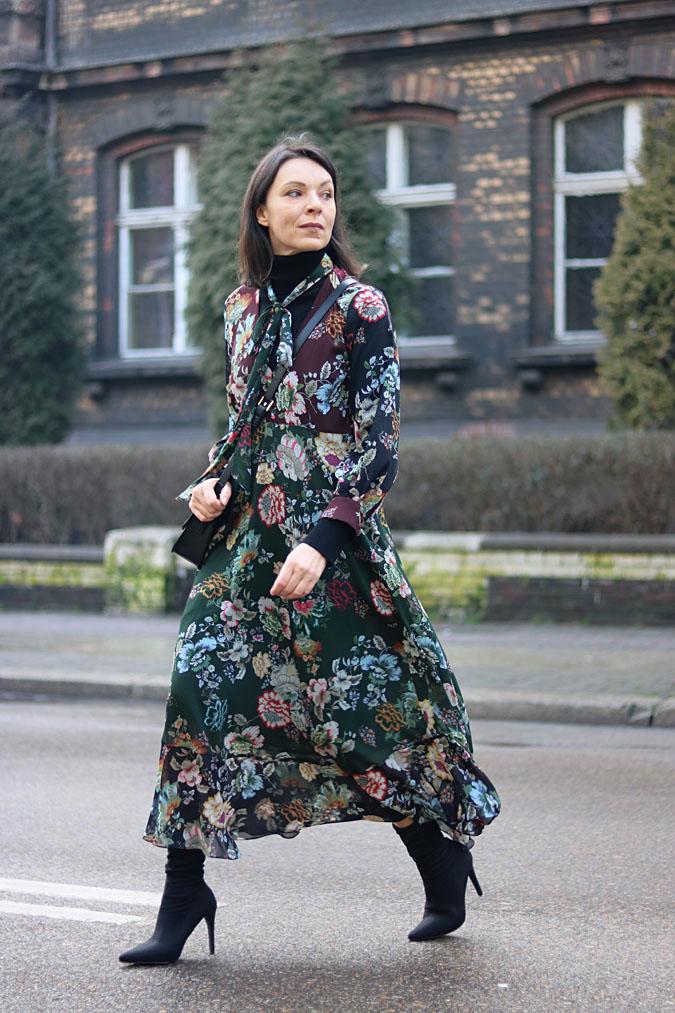 blog modowy sukienka w kwiaty zara
