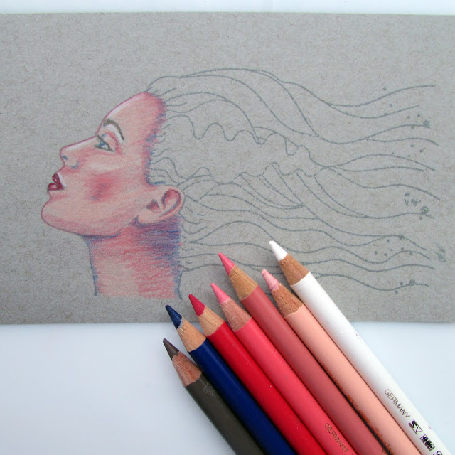 polychromos pencils - face stamp