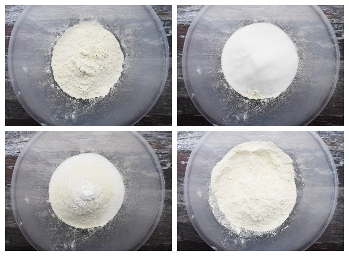 Making coconut cake - step 2 - dry ingredients added to a mixing bowl