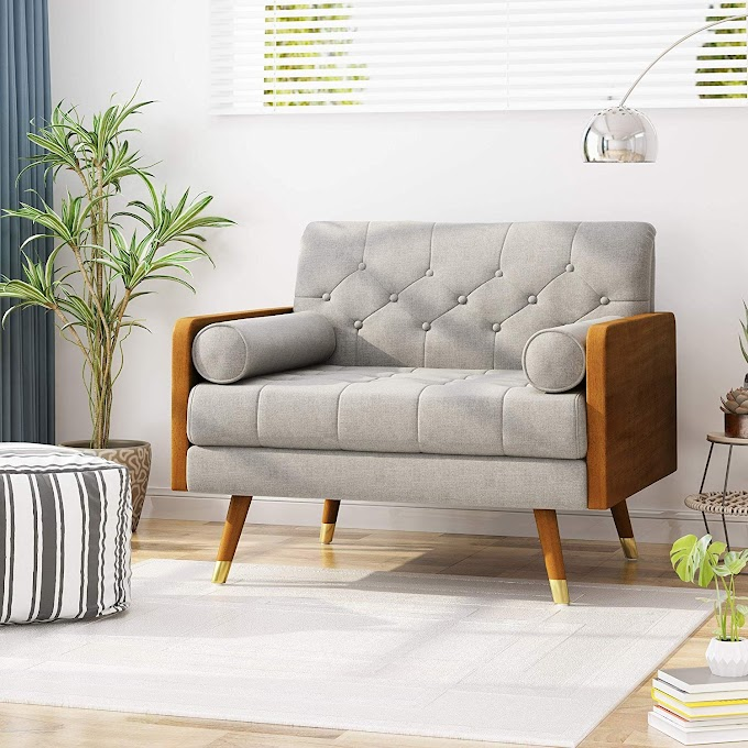 Little Modern Sofa  For livingroom with cream linen fabric design