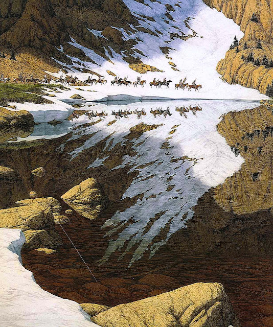 a Bev Doolittle painting of First Nations men on horse procession past a natural reflection of a giant eagle