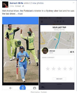 pakistani cricketer driving taxi picture