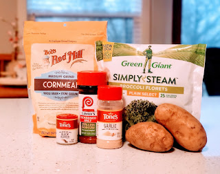 ingredients for broccoli tots on a table. ingredients include cornmeal, frozen broccoli, potatoes, and spices