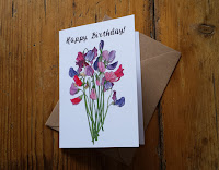 Sweet Pea birthday card by Alice Draws The Line