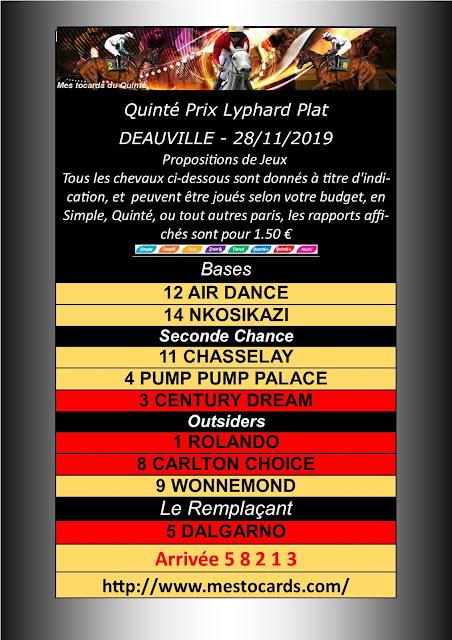 Quinté Prix Lyphard Plat Deauville 28112019