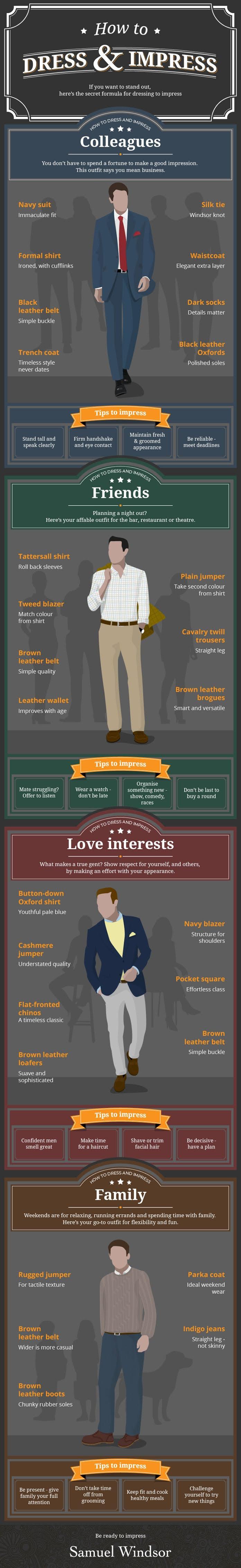 How To Dress and Impress #infographic #Dress #Fashion #Impress #Men Fashion