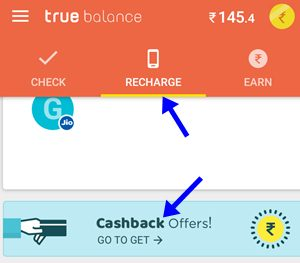 truebalance app recharge and cashback offers