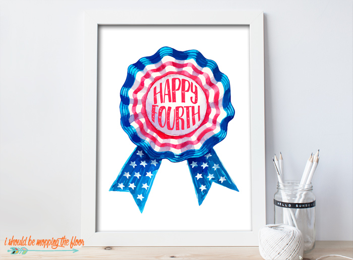 Happy Fourth Ribbon Print
