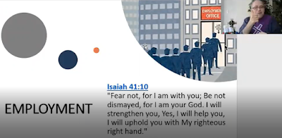 "slide showing the word ""employment"" with a scripture verse from Isaiah 41.10. Rev. Yates is in the top right-hand corner signing."