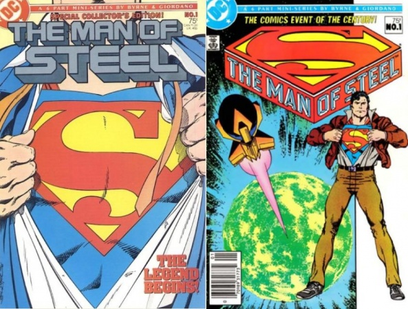 Two John Byrne Man of Steel comic book covers side by side showing Clark Kent tearing open his shirt to show the Superman logo