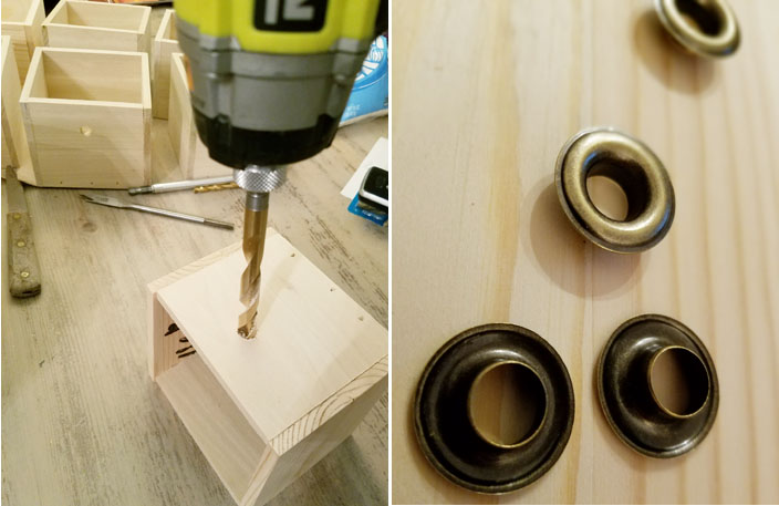 eyelets to cover hole on wood. drilling a hole with ryobi drill and 3/8 drill bit
