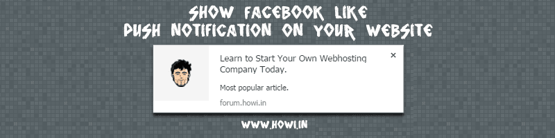 Facebook Like Push Notification Function for Website