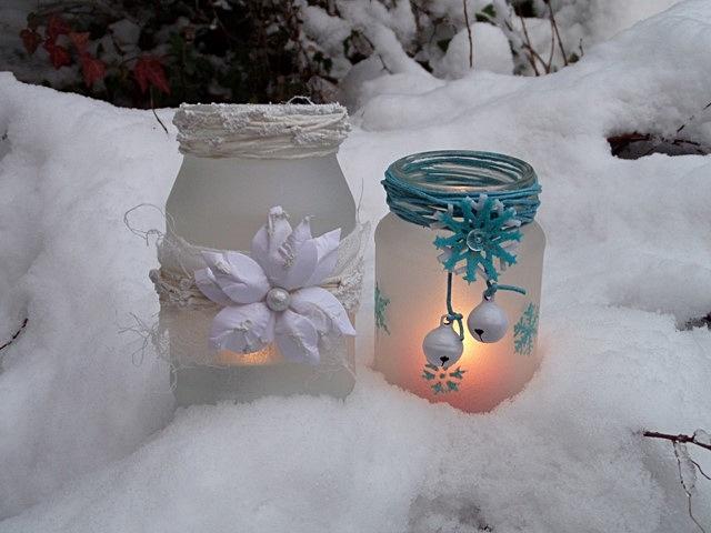 Lampiony z farbą efekt szronu