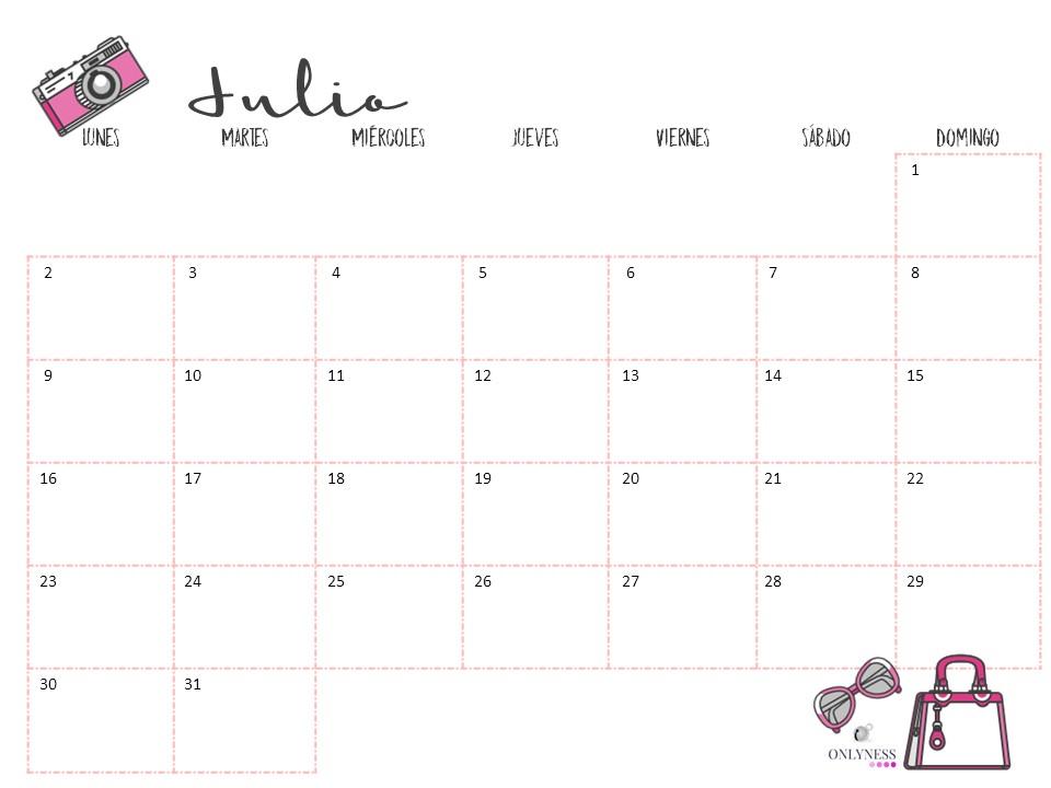 Calendario descargable Julio 2018 OnlyNess
