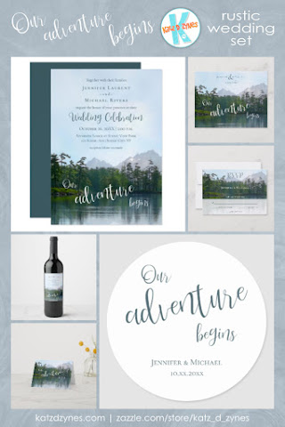 Lake in the mountains our adventure begins wedding invitations and coordinates from katz_d_zynes