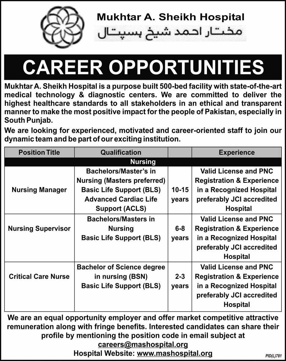 Mukhtar Ahmed Sheikh Hospital Jobs