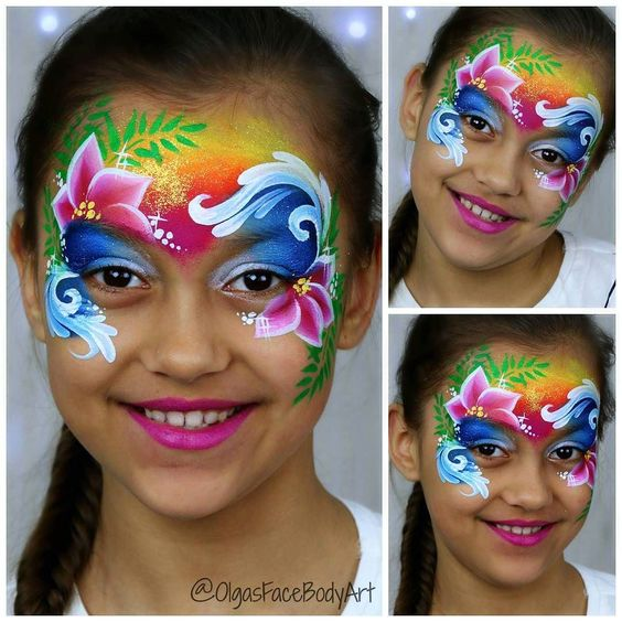maquillage enfant hawaien