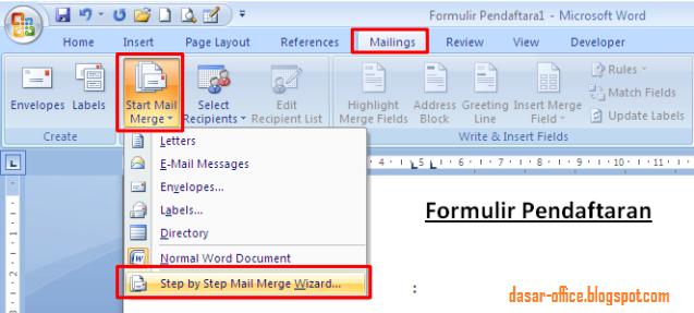 Cara Membuat Mail Merge di Ms Word 2007, 2010, 2013 - Belajar Bersama