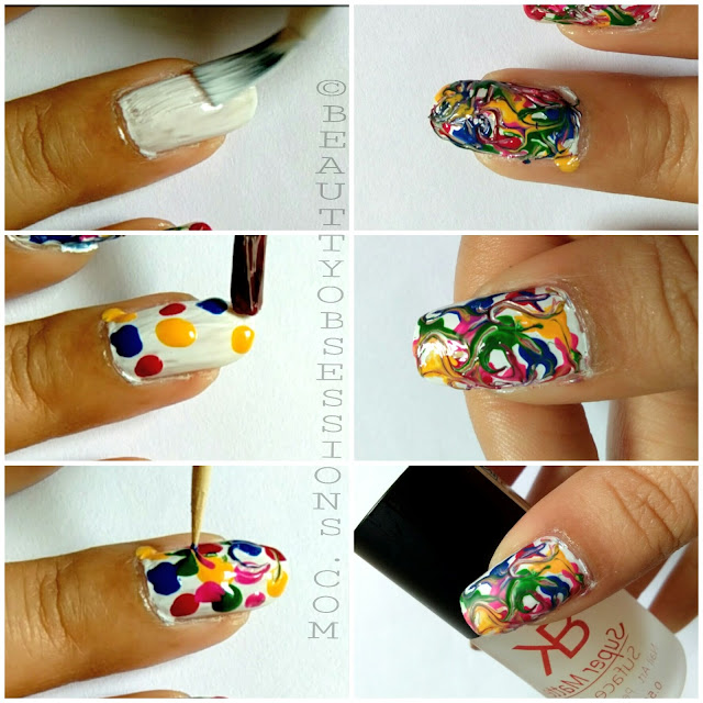 Happy Holi ... | Multicolour Drag/Dry Marbel Nailart Tutorial..