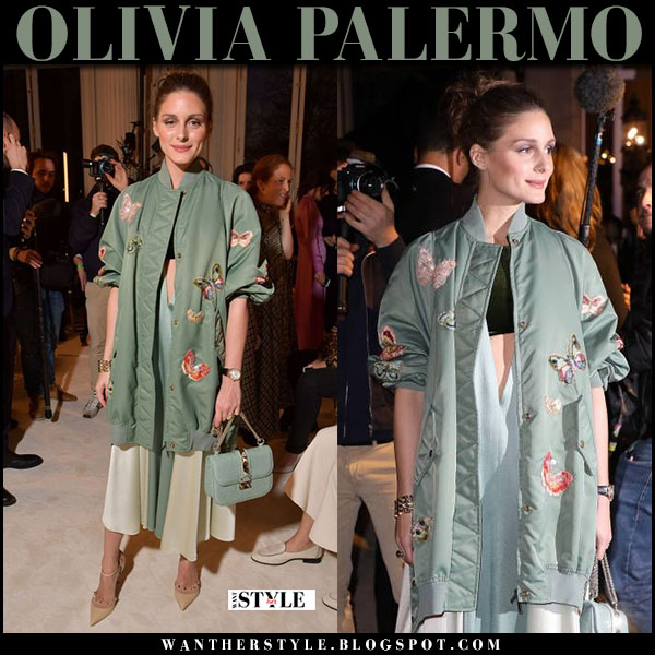Olivia Palermo in green butterfly embroidered jacket, midi dress with green bag valentino fashion week outfit january 24