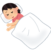 寝ている人のイラスト(女性)