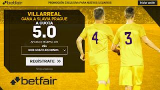 betfair supercuota victoria de Villarreal a Slavia Prague 19 octubre