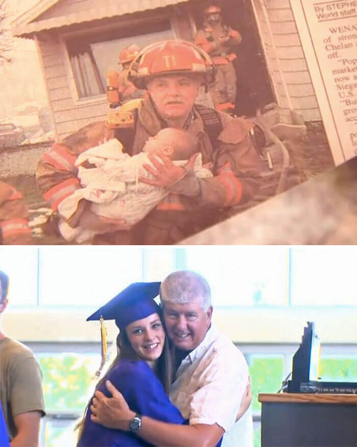 30 Heartwarming Photos That Restored Our Faith In Humanity - Retired Firefighter Invited To The Graduation Of A Girl He Rescued 17 Years Ago From Her Crib During A House Fire