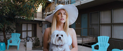 Movie still for David Robert Mitchell's 2019 film Under the Silver Lake where Riley Keough looks upward while wearing a big white hat and holding a white dog