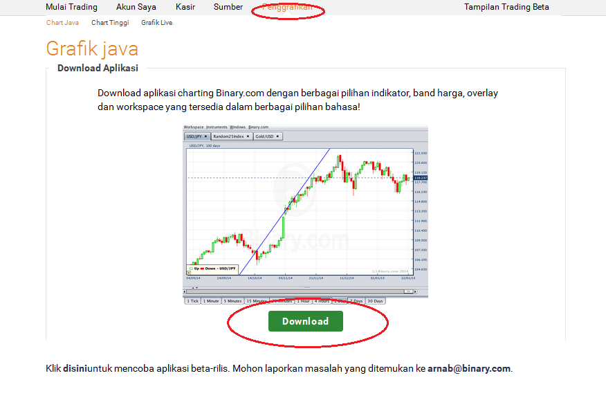 Binary option chart setup