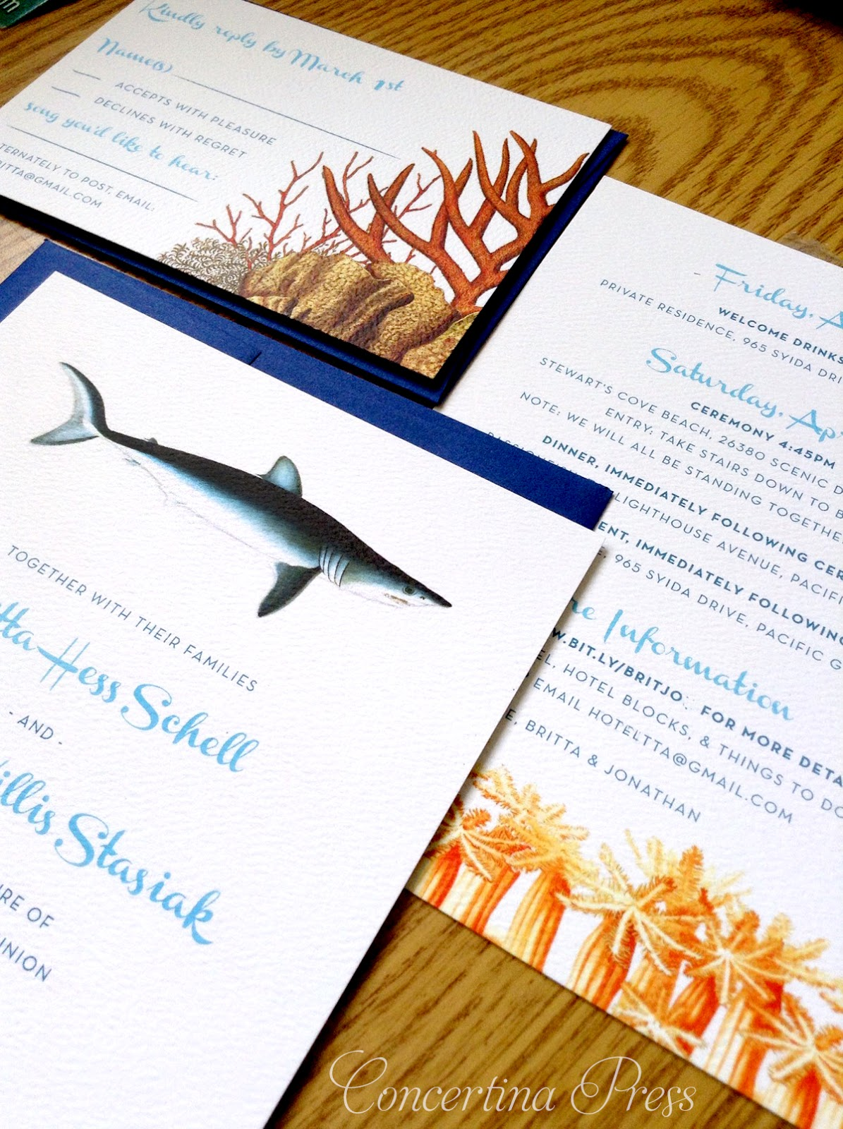 Shark Wedding Invitations from Concertina Press are perfect for aquarium weddings