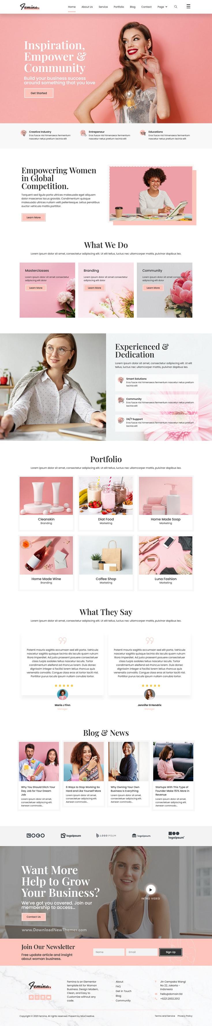 Feminine Business Elementor Template Kit