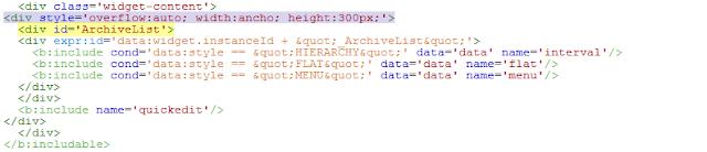 Cara memasang Scroll pada Blog Archive Blogger
