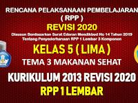 RPP 1 Lembar Kelas 5 Tema 3 SD/MI Kurikulum 2013 Revisi 2020 Tahun Pelajaran 2020 - 2021