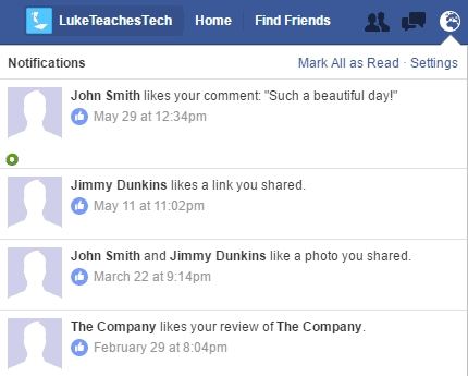 Facebook notifications menu