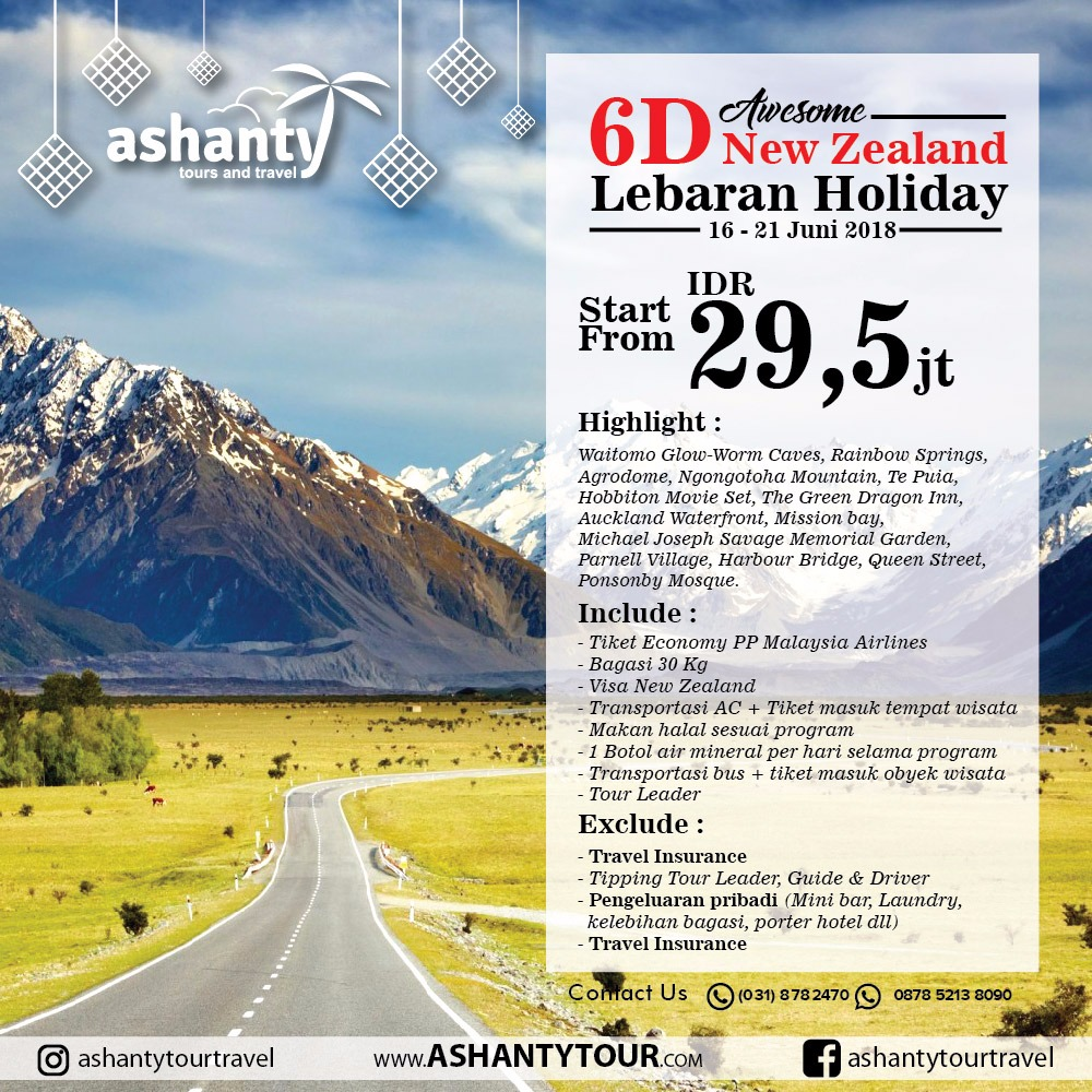 New Zealand 6D - Lebaran Holiday Tour 2018