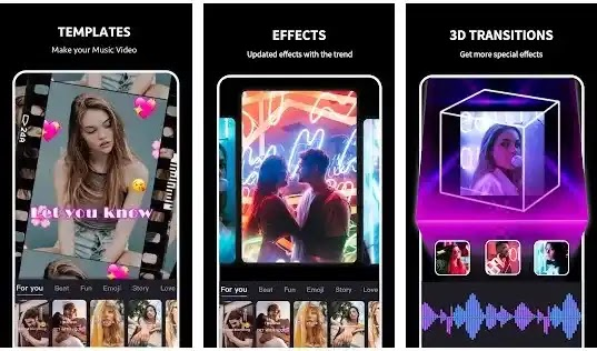 Beat.ly أفضل مجانا HD الموسيقى صانع الفيديو وعرض الصور صانع مع القوالب العصرية ، الموسيقى الشعبية ، التحولات المذهلة ، و تأثيرات الفيديو .