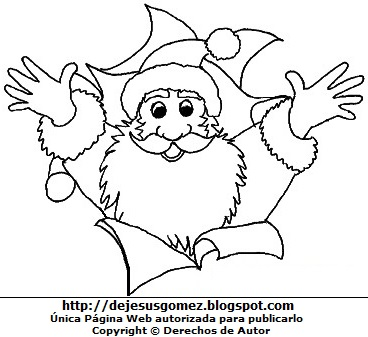 Dibujo de Papa Noel feliz para colorear pintar imprimir. Dibujo hecho por Jesus Gómez