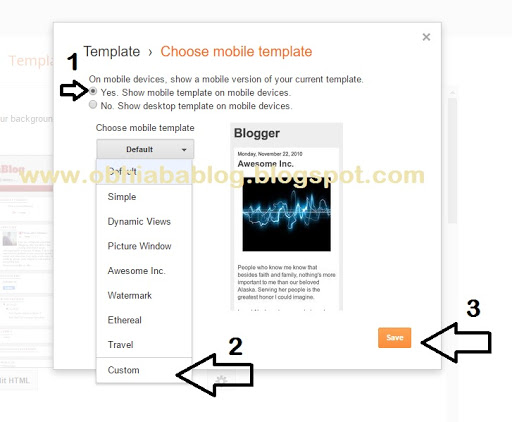 enable blogger custom mobile template