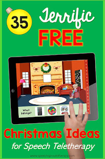 "35 Terrific FREE Christmas Speech Therapy Ideas for Teletherapy. This Free ""What Belongs? Boom Card Deck is just one of the ideas #speechsprouts"