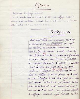 Cahier de devoirs mensuels, élève Berthe L., cours moyen 2ième année, école privée de Toulon-sur-Arroux, 1911 (collection musée)