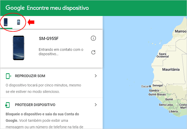 Lista de dispositivos associados a conta do Google